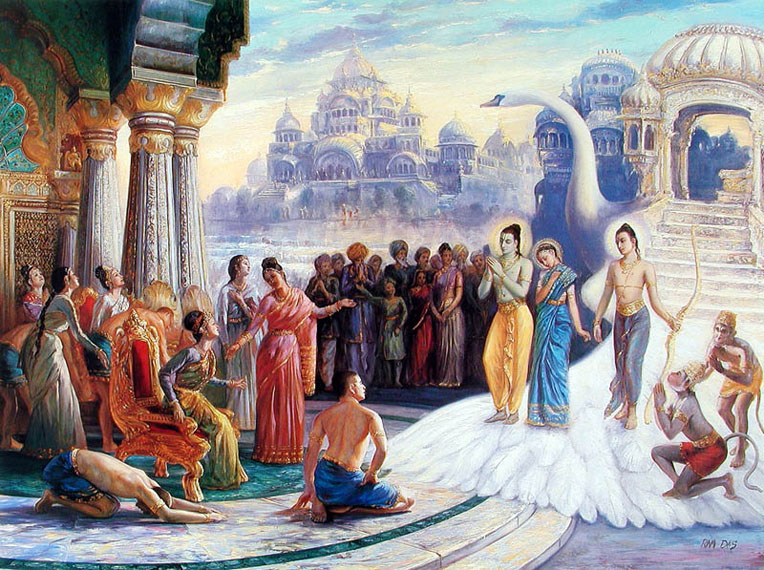 Homecoming of Rama, Lakshman and Sita. (Image: Krishnapath.org )
