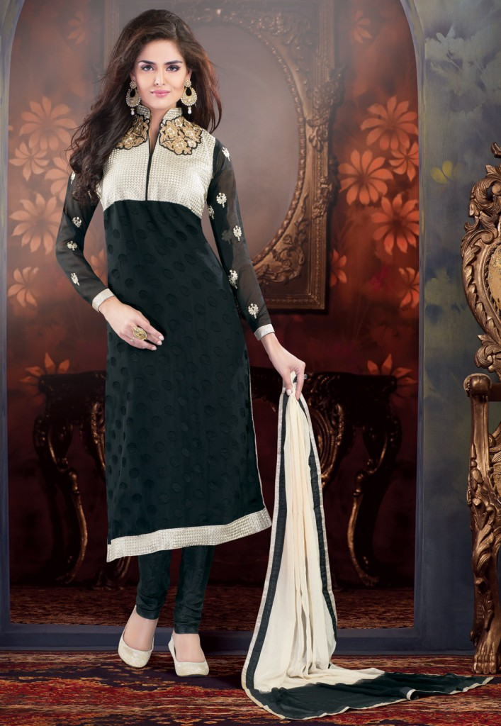 Black Faux Georgette Brasso Churidar Kameez