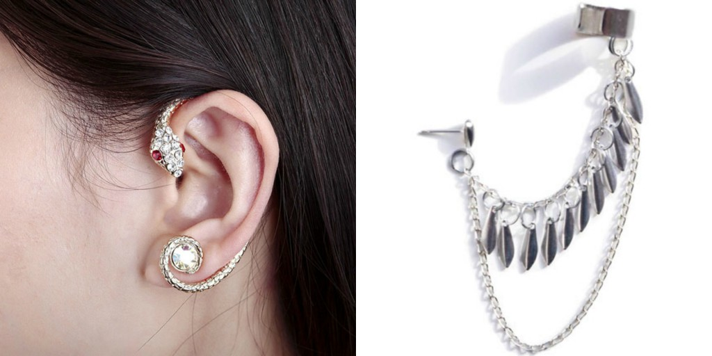 Snake studded and Chain Ear Cuff
