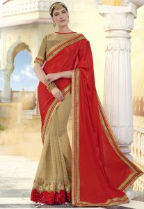 chiffon-red-saree