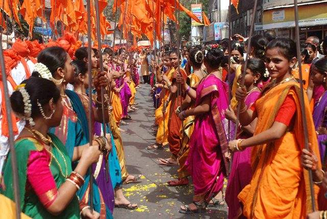 Devotees participate in a procession to celebrate the Hindu festival Gudi Padwa, in Mumbai ( pic by Ravindra Zende kemmannu.com)