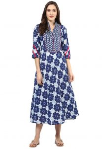 Dabu Printed Cotton Dress in Off White and Indigo Blue