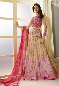 Embroidered Net Abaya Style Suit in Beige and Fuchsia