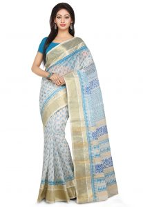 Printed Handloom Cotton Saree in Off White