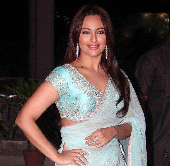 Bollywood actress Sonakshi Sinha in a sky blue lehenga. (Image: Chinkipinki.com)