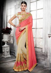georgette-half-half-saree