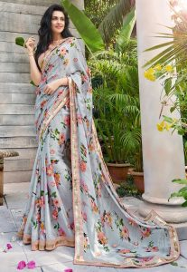 Printed Chiffon Satin Saree in Grey