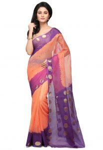 Woven Kota Doria Saree in Orange and Purple