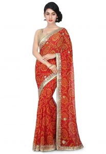 Bandhej Georgette Saree in Maroon