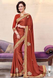 Embroidered Chiffon Saree in Light Rust