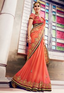 Embroidered Chiffon Saree in Pastel Orange