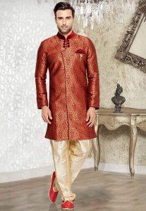 Jacquard Sherwani in Maroon and Golden