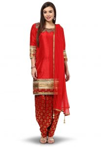 Embroidered Silk Punjabi Suit in Red