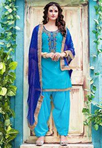 Gota Patti Embroidered Chanderi Silk Punjabi Suit in Sky Blue