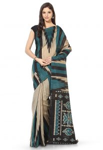 Ikat Printed Art Silk Saree in Beige