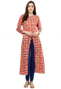 Printed Cotton Kurta in Beige and Red