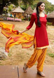 Printed Cotton Punjabi Suit in Red