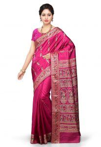 Pure Baluchari Handloom Silk Saree in Fuchsia