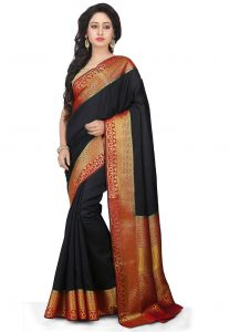 Woven Bangalore Silk Saree In Black