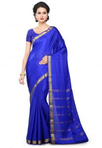 ca51f4200cd Woven Pure Mysore Silk Saree in Royal Blue