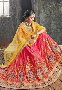 Peach Net Lehenga Choli with Dupatta