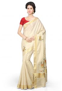Pure Kerala Kasavu Cotton Saree in Off White