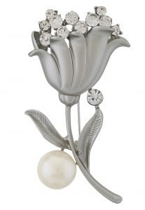 Stone Studded Brooch in Silver