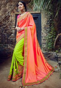 Embroidered Art Silk Saree in Peach and Neon Green