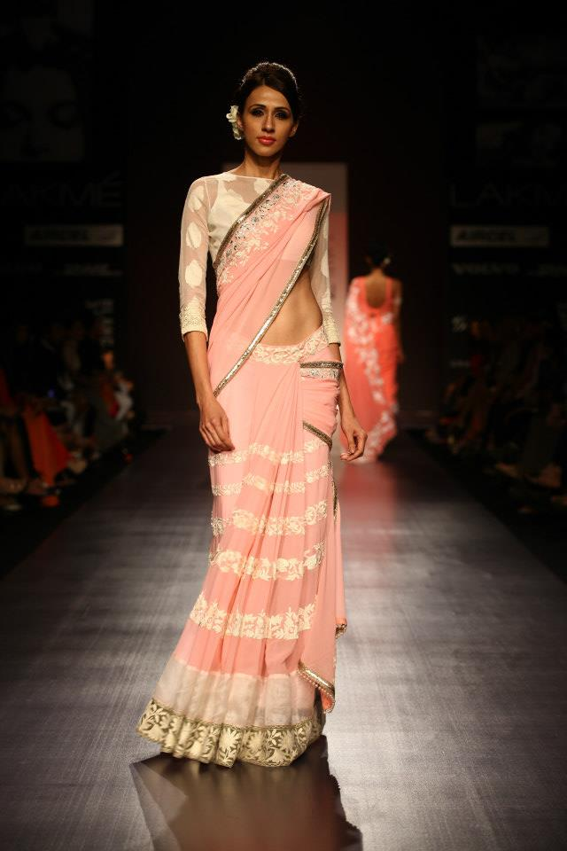 Chiffon Sari in Pastel Color