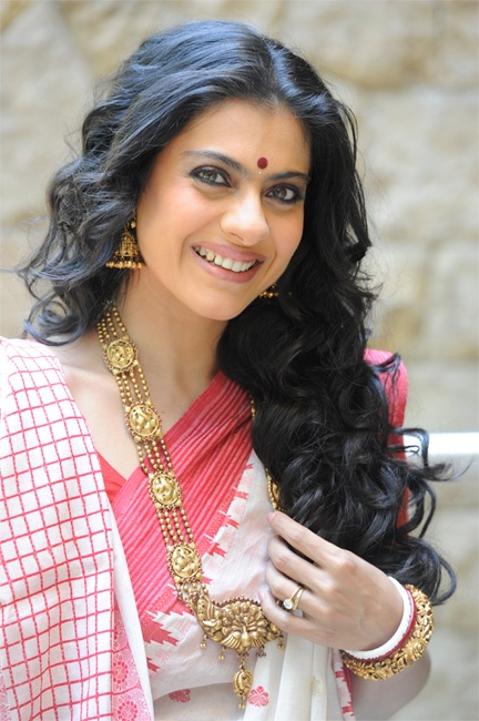 Bollywood Actress Kajol in Temple Jewelry