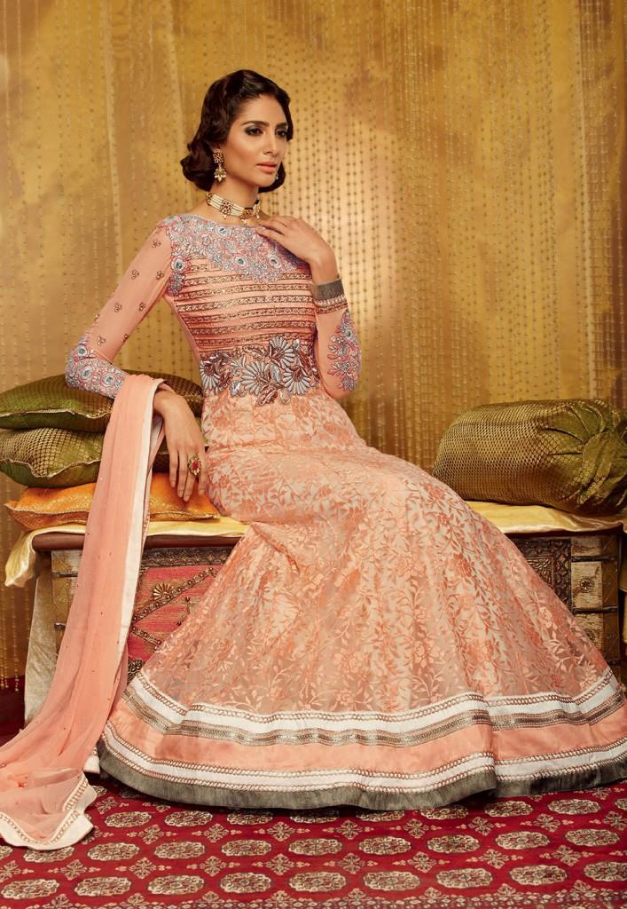 light-peach-net-brasso-abaya-style-churidar-kameez