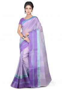 Bengal Handloom Pure Cotton Tant Saree in Purple