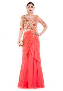 b93d77b34b Hand Embroidered Georgette Layered Saree Gown in Coral Pink and Peach