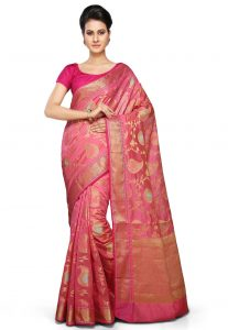 Banarasi Handloom Art Silk Saree in Pink