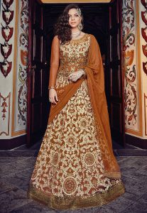 Embroidered Abaya Style Net Suit in Brown