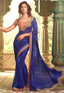 Embroidered Border Georgette Sari in Blue