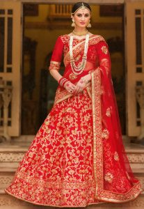 Embroidered Net Lehenga Style Saree in Red