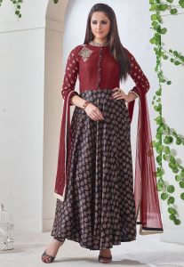 Dabu Printed Dupion Silk Abaya Style Suit in Black