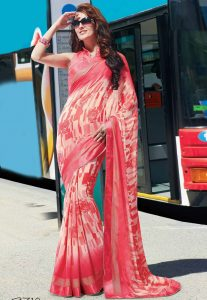 Printed Georgette Saree in Coral and Cream