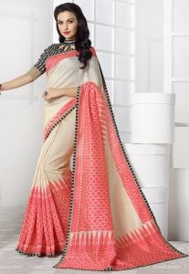 Printed Linen Saree in Beige