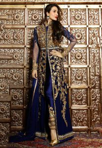 Embroidered Abaya Style Front Slit Georgette Suit in Navy Blue