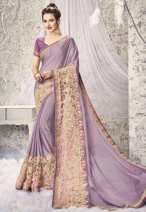 Embroidered Satin Georgette Saree in Lilac