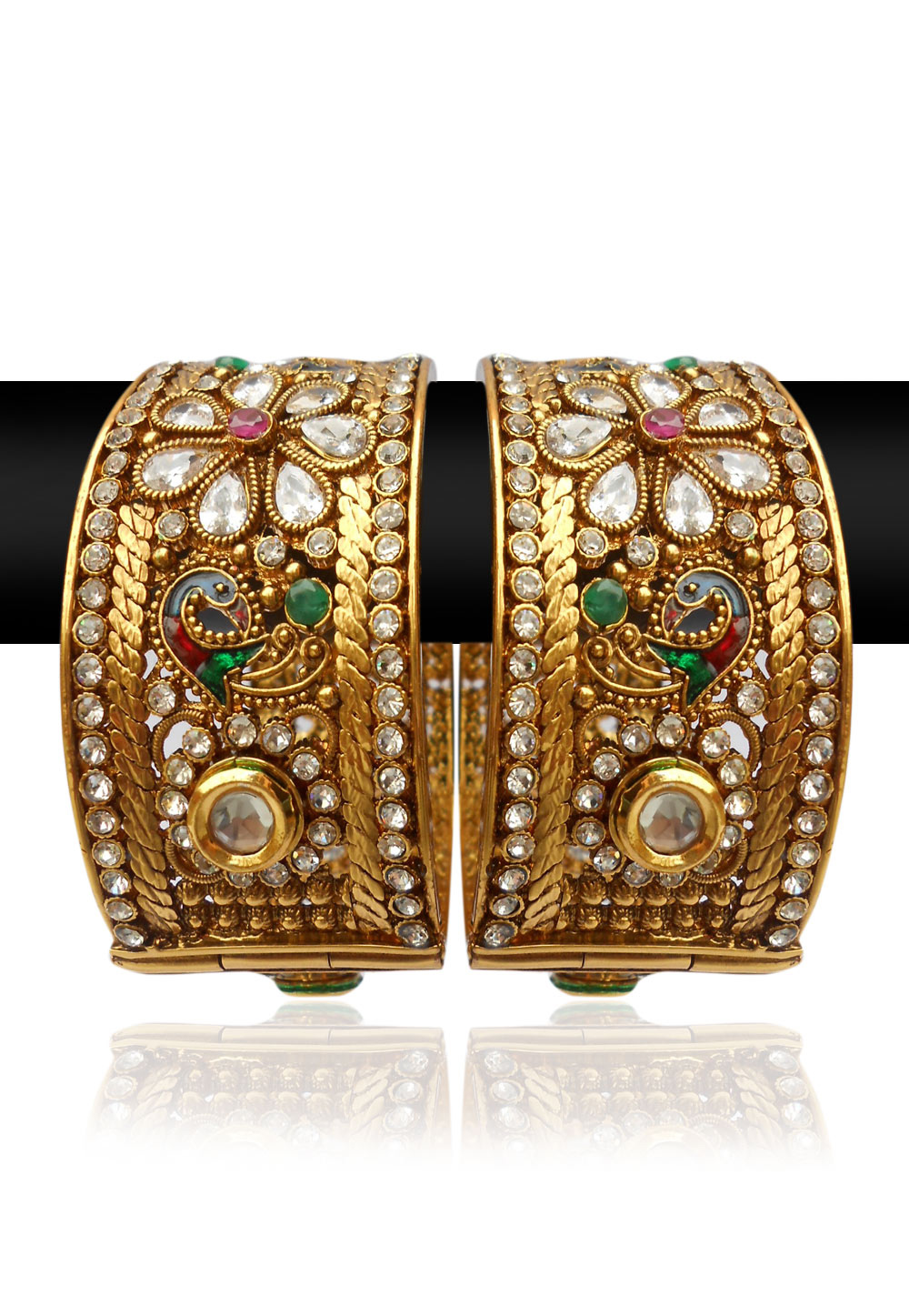 A Stone Studded Adjustable Bangle Set in Red, Green and White (Image: Utsavfashion.com)