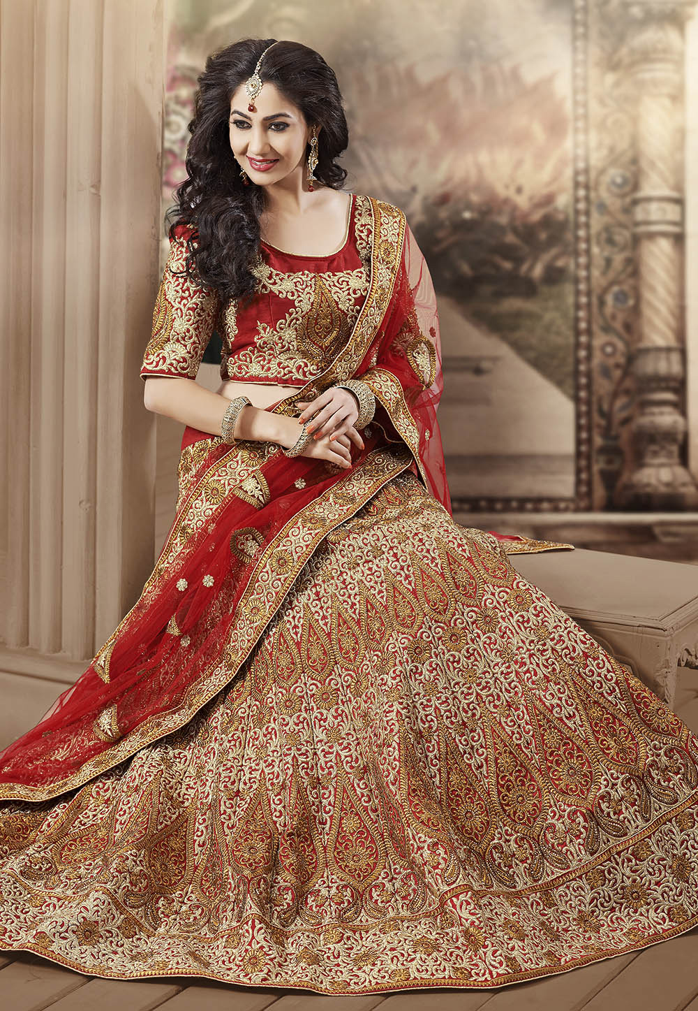 A Red and Golden Art Silk Lehenga Choli with Dupatta. (Image: Utsavfashion.com)