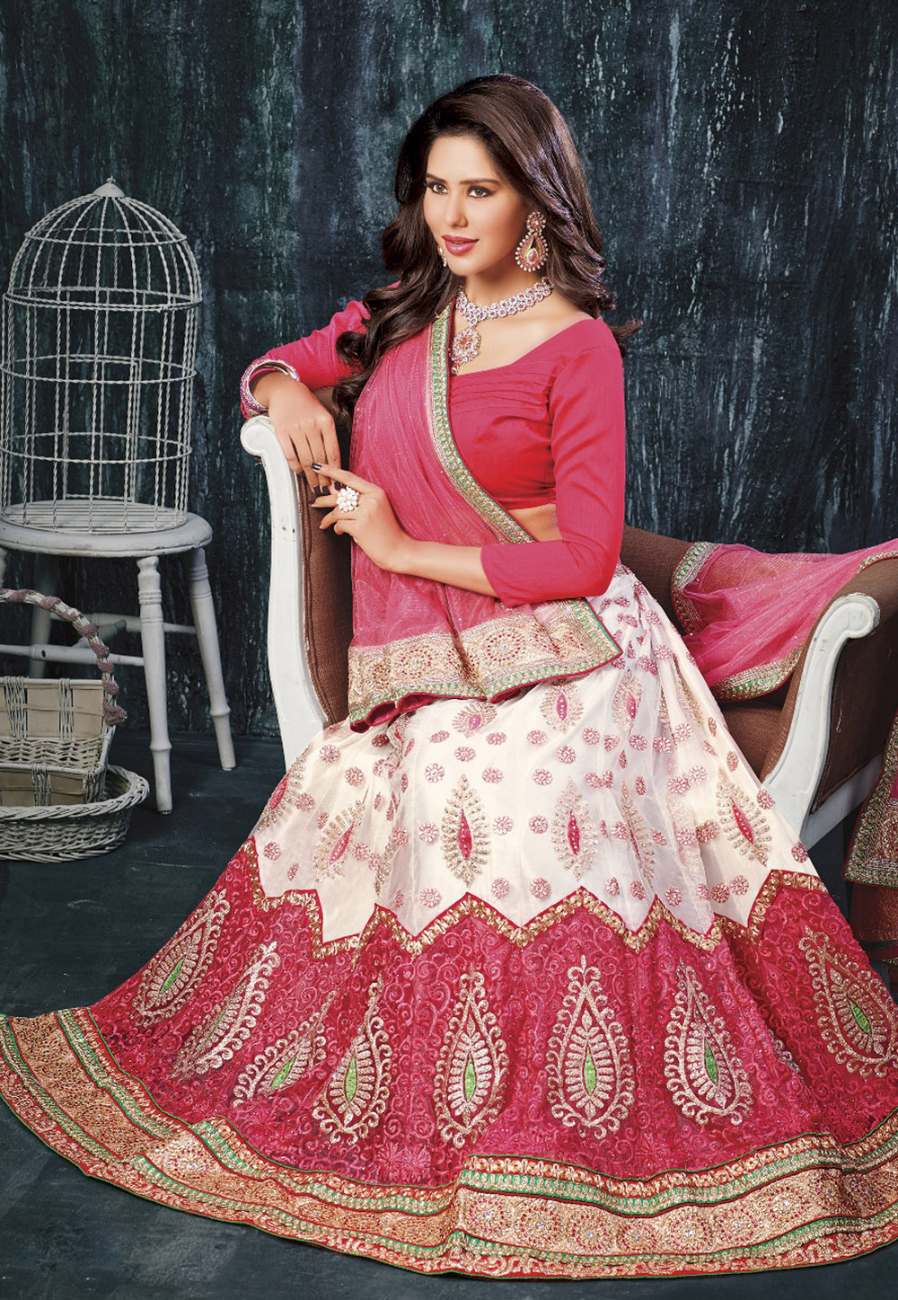 A White and Pink Lehenga Choli. (Image: Utsavfashion.com)