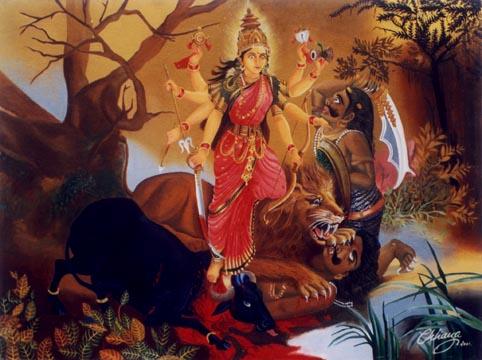An image showing goddess Durga slaying Mahishasura. (Image: Hinduhumanrights.info)