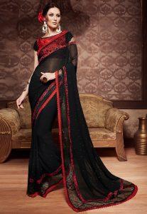 Embellished Georgette Saree in Black