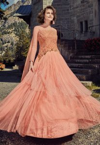 Embroidered Double Layered Abaya Style Net Suit in Peach