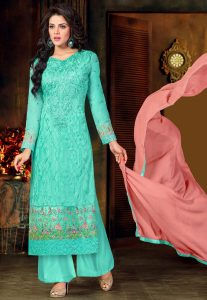 Embroidered Georgette Pakistani Suit in Turquoise