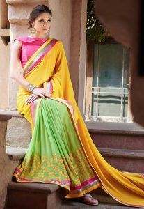 Half N Half Georgette Saree in Yellow and Green